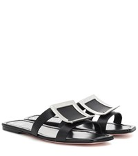 Roger Vivier Biki Viv' Leather Slides Black