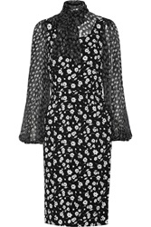 Dolce And Gabbana Pussy Bow Floral Print Crepe And Georgette Dress