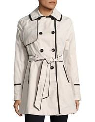 Betsey Johnson Lace Up Back Corset Trench Coat Beige