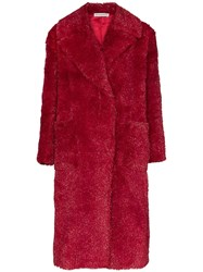 Vika Gazinskaya Faux Fur Long Coat Red