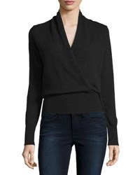 Neiman Marcus Cashmere Faux Wrap Sweater Black