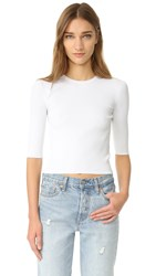 Vince Ribbed Elbow Sleeved Cropped Pullover White