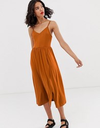 Monki Wrap Front Cami Dress In Rust Red