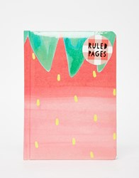 Paperchase Nice Slice Casebound Strawberry Notebook Multi Pink