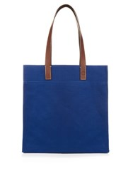 Frescobol Carioca Cotton And Linen Blend Canvas Tote Blue