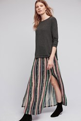 Anthropologie Lucy Stripe Maxi Skirt Blue Motif