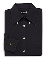 Kiton Solid Cotton Dress Shirt Black