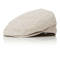 Barneys New York Men's Seersucker Newsboy Cap Grey