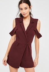 Missguided Burgundy Arm Band Detail Blazer Playsuit