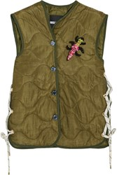 House Of Holland Embellished Padded Shell Gilet Army Green