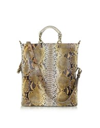 Ghibli Large Python Leather Tote Brown