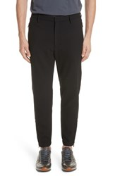 Emporio Armani Flat Front Stretch Check Wool Blend Trousers Nero
