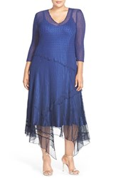 Plus Size Women's Komarov Three Quarter Sleeve Lace And Chiffon A Line Dress