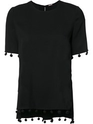Adam By Adam Lippes Fringed Detail T Shirt Black