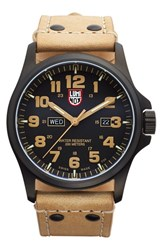 Luminox Men's 'Land Atacama Field' Leather Strap Watch 45Mm Golden Tan Black