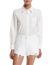 Alexander Wang Cotton Poplin Long Sleeve Shirt Bodysuit Ivory