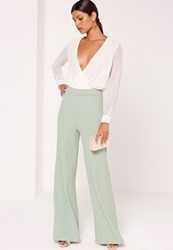 Missguided Jersey Crepe Wide Leg Trousers Green Mint