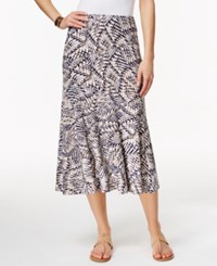 Jm Collection Printed Pull On Skirt Only At Macy's Blue Tan