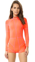 Cynthia Rowley Wetsuit With Faux Grommet Detail Orange