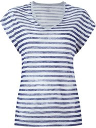 Majestic Filatures Striped V Neck T Shirt Grey