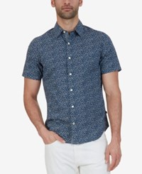Nautica Men's Classic Fit Floral Short Sleeve Shirt Maritime Navy