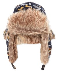 American Rag Men's Trapper Hat With Faux Fur Trim Only At Macy's Navy