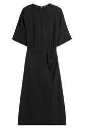 Joseph Draped Dress With Wool Black