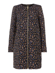 Biba Leopard Print Jacquard Zip Up Coat Multi Coloured Multi Coloured