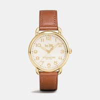 Coach Delancey Gold Tone Sunray Dial Leather Strap Watch Saddle