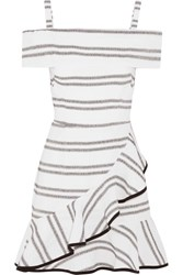 Rebecca Vallance Jupiter Ruffled Striped Cloque Mini Dress Ivory