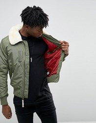 Alpha Industries Bomber Jacket With Shearling Collar In Slim Fit Sage Green Gr1 Green 1