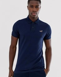 Hollister Icon Logo Modern Collar Pique Polo Slim Fit In Navy