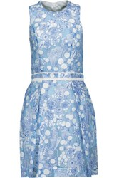 Carven Fancy Printed Chiffon Mini Dress Blue