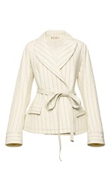 Marni Quilted Belted Jacket White