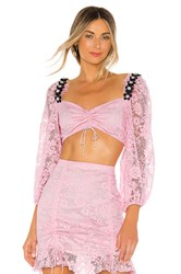 For Love And Lemons Lafayette Crop Top Pink