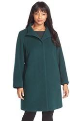 Plus Size Women's Cinzia Rocca Due Wool Blend Stand Collar A Line Coat