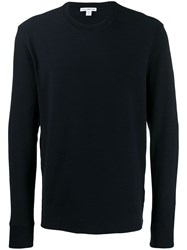 James Perse Long Sleeve Fitted Sweater Blue