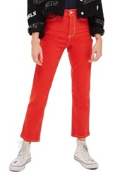 Topshop Straight Leg Jeans Red