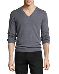 Just Cavalli Long Sleeve V Neck Wool Sweater Gray Men's
