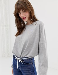 Monki Oversized Crew Neck Sweatshirt With Embroidery In Grey