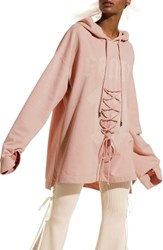 Puma Women's Fenty By Rihanna Oversize Lace Front Hoodie Cameo Rose