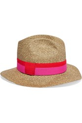 Eres Anouk Grosgrain Trimmed Woven Paper Fedora Brown