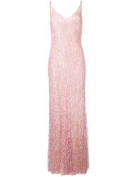 Amen Sequinned Evening Gown Pink And Purple