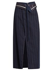 Sies Marjan Pinstriped Midi Wrap Skirt Navy