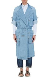 Balmain Men's Denim Belted Trenchcoat Light Blue