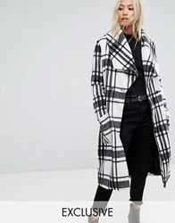 Religion Wrap Front Coat In Soft Brushed Check Multi