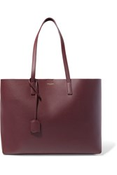 Saint Laurent Shopper Large Textured Leather Tote Burgundy