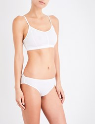 Sunspel Soft Cup Cotton Jersey Bralette White
