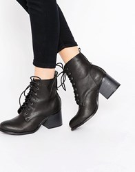 London Rebel Lace Up Chunky Heeled Boot Black