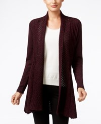 Ny Collection Marled Knit Open Front Cardigan Burgundy Marled